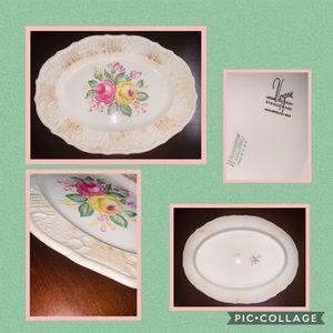 •Vintage Vogue Floral Serving Platter ~ 22k gold•